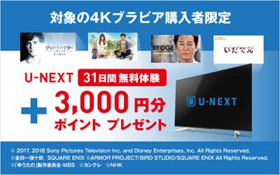 ソニー 4Kブラビア購入者限定 U-NEXTキャンペーン