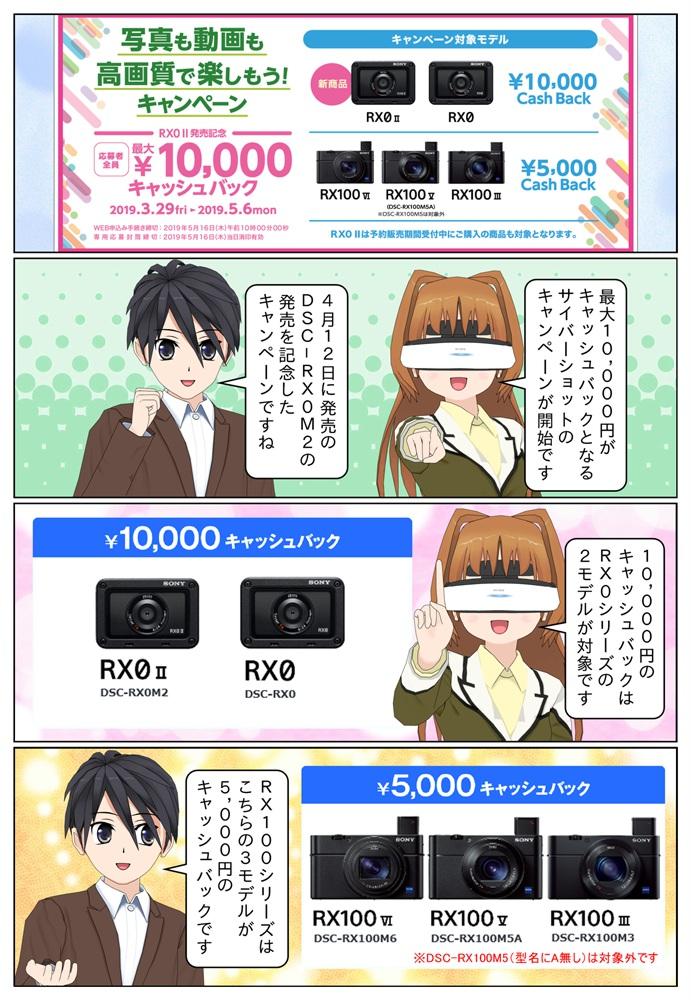 ソニー サイバーショット DSC-RX0M2、DSC-RX0を購入で10,000円のキャッシュバック