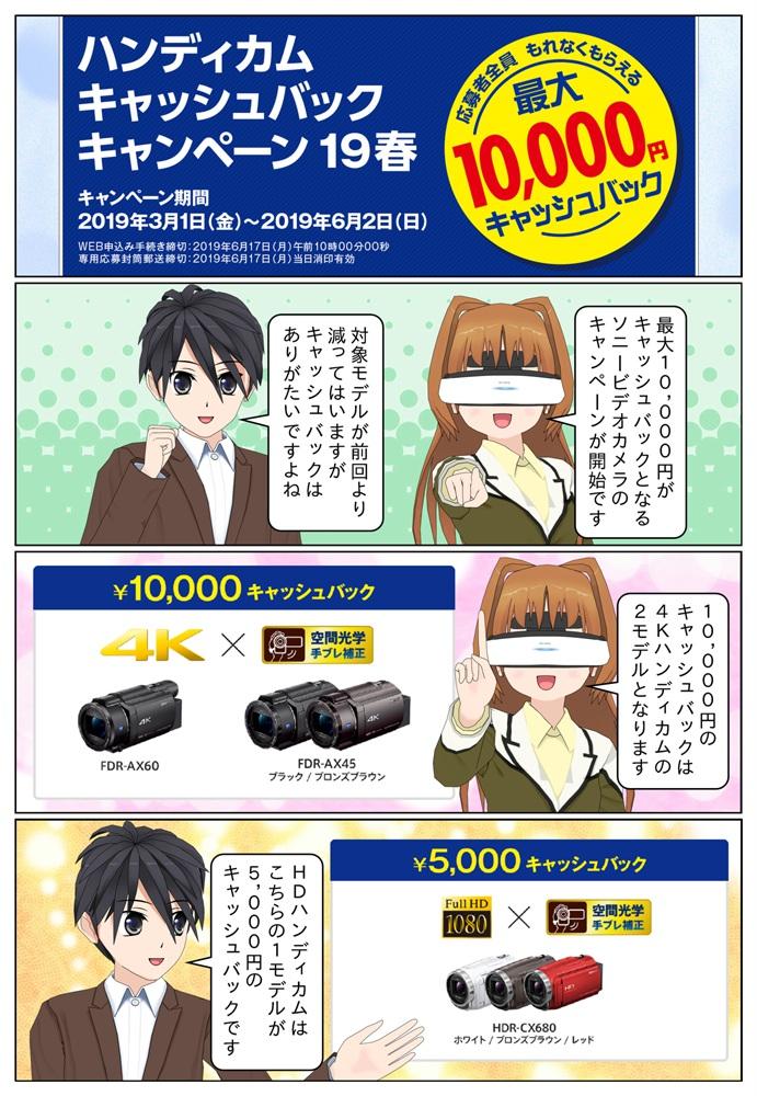 ソニー ハンディカム キャッシュバックキャンペーンにより対象のハンディカムを御購入で最大1万円のキャッシュバック。