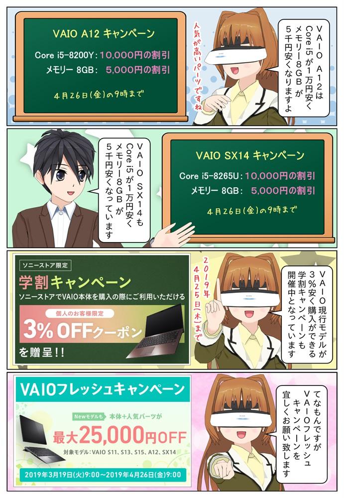 VAIO A12とVAIO SX14はCore i5とメモリー 8GBがお求め安くなります。