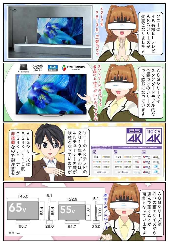 ソニーの4K有機ELテレビ BRAVIA A8Gシリーズが発売。BS4K/110度CS4Kチューナーは非搭載