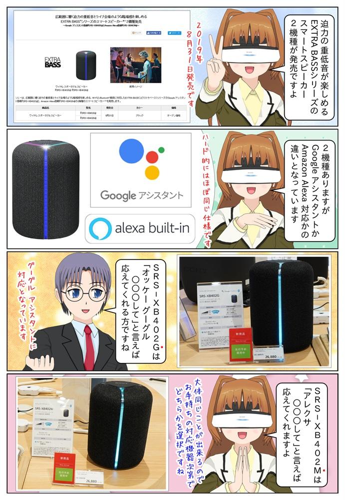 ソニーからスマートスピーカー SRS-XB402G(Googleアシスタント対応)とSRS-XB402M(アレクサ対応)が発売