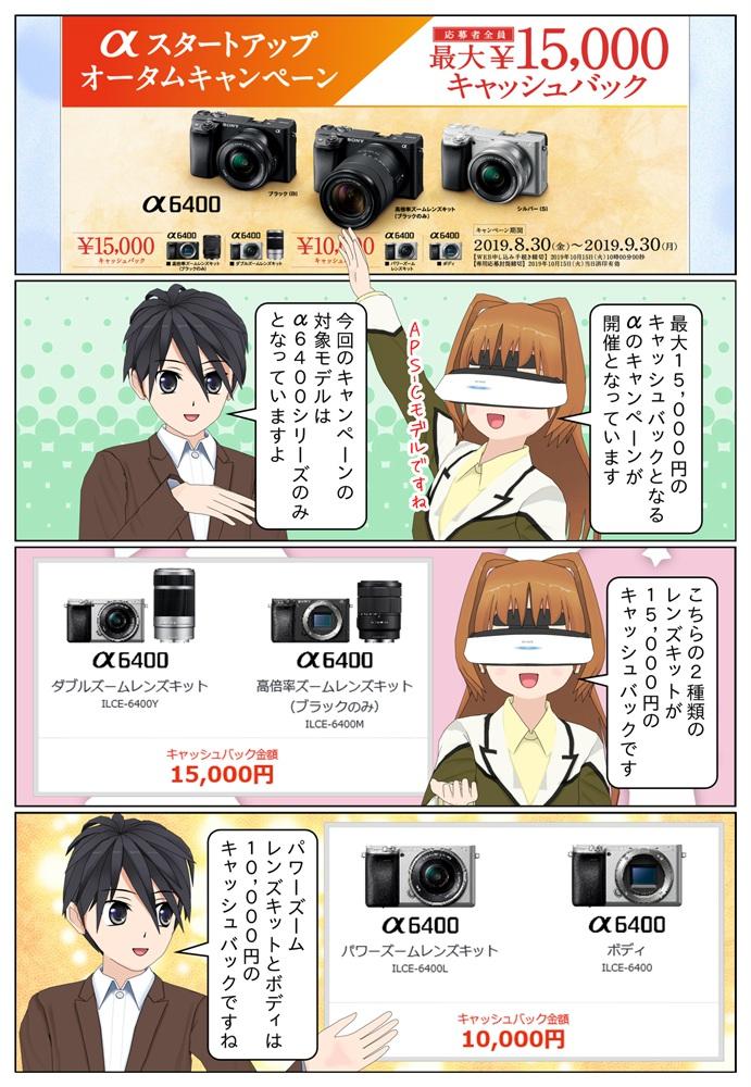 ソニー αスタートアップ キャンペーンによりα6400シリーズを御購入で最大1万5千円のキャッシュバック