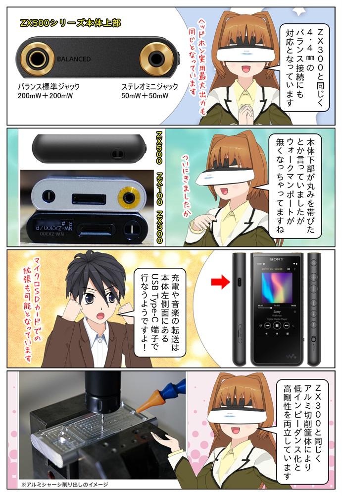 ソニー ウォークマン ZX500 は4.4mmバランス接続に対応、USB Type-C端子を搭載