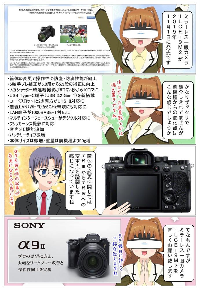 ソニーのα9II(ILCE-9M2)発売日2019年11月1日、販売価格帯約55万円前後、ILCE-9との違い
