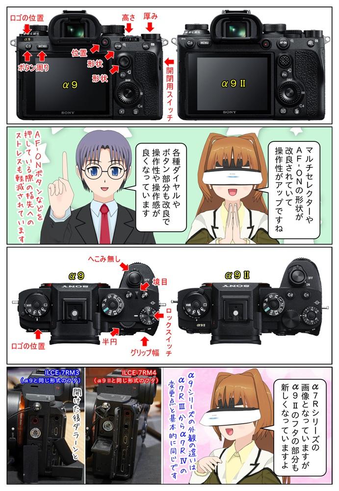 ソニー α9II ILCE-9M2 と α9 ILCE-9 のボディの違いを画像の比較で紹介しています