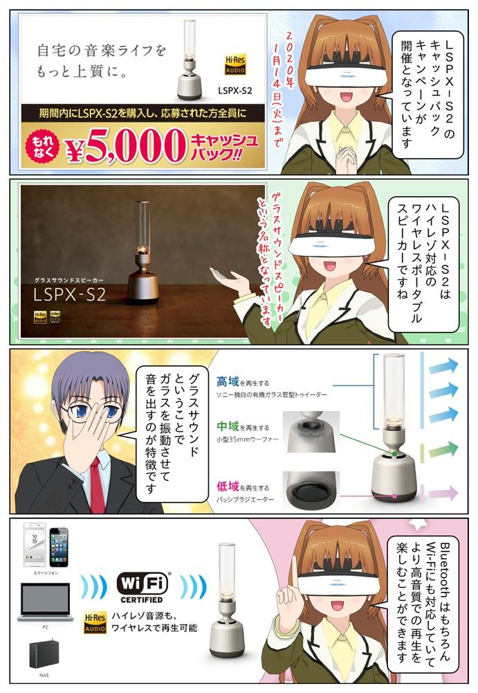 ソニーのグラスサウンドスピーカー LSPX-S2を購入で5,000円のキャッシュバック