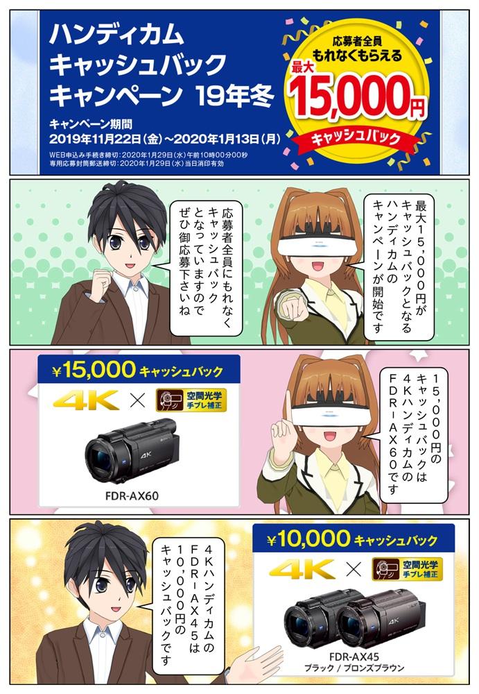 ソニー ハンディカム キャッシュバックキャンペーンで最大1万5千円のキャッシュバック