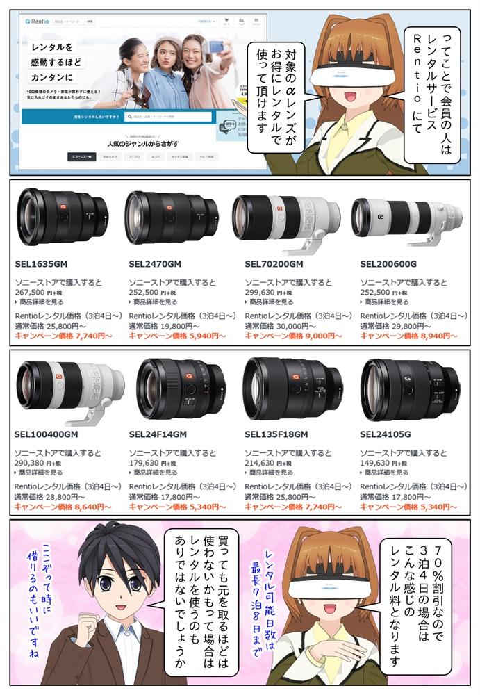 対象レンズはSEL1635GM、SEL2470GM、SEL70200GM、SEL200600G、SEL100400GM、SEL24F14GM、SEL135F18GM、SEL24105G