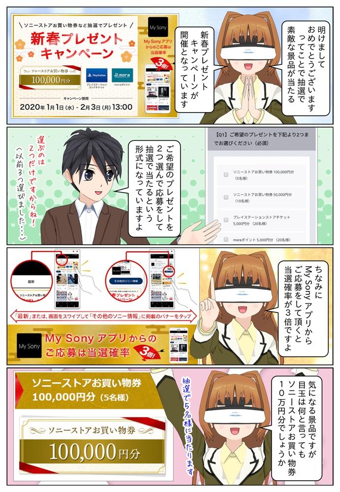 ソニーの新春プレゼントキャンペーンが開催、ソニーストアお買い物券10万円分などが抽選で当たります。