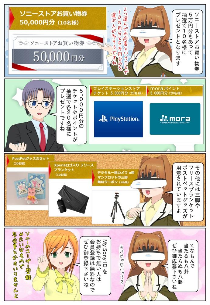 ソニーストアお買い物券5万円分や5,000円分のチケットやポイントなども抽選でプレゼントとなっています。