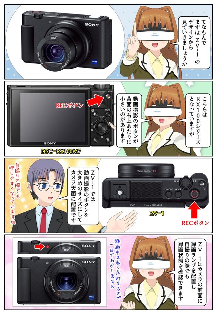 ソニーのZV-1とDSC-RX100M7のデザインの違いを比較、ZV-1は動画撮影向きの設計になっています