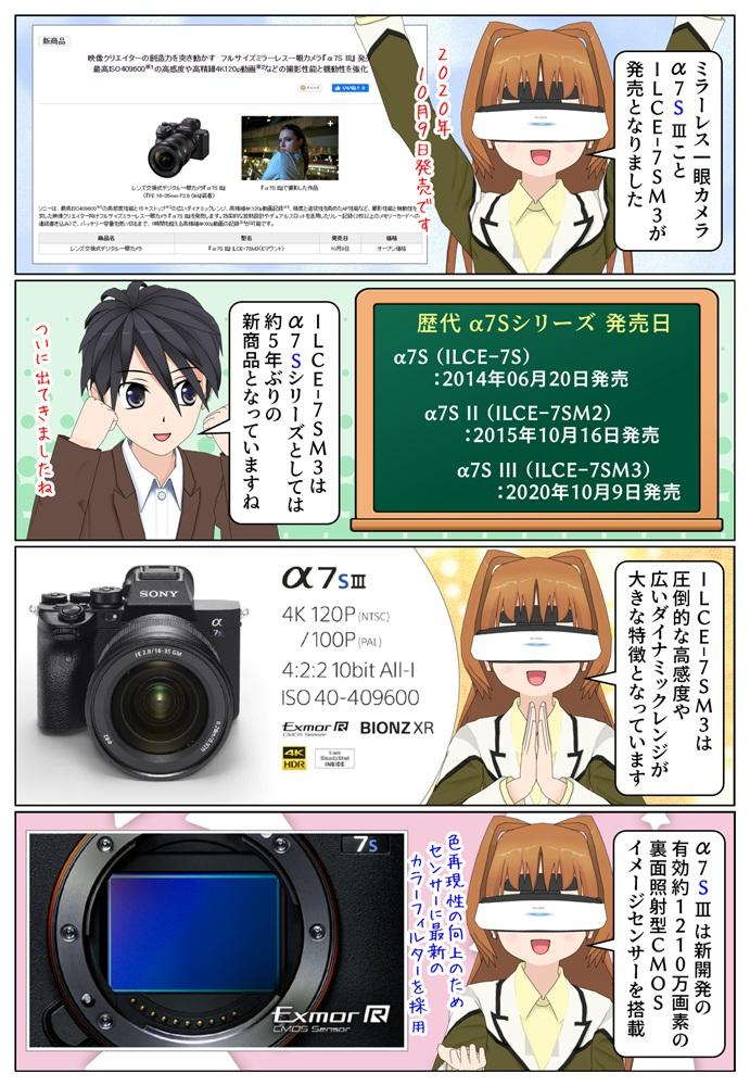 ソニーのミラーレス一眼カメラ『α7S III』ILCE-7SM3 の発売日は2020年10月9日です
