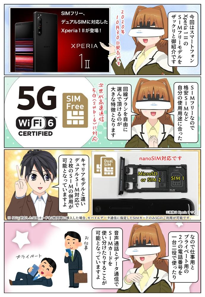 5G対応 Xperia 1 II(XQ-AT42)のSIMフリーモデルの発売日は2020年10月30日(金)。デュアルSIMにも対応