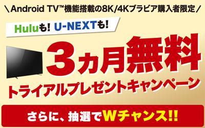 動画配信サイト hulu & U-NEXT 3ヵ月無料トライアルプレゼントキャンペーン