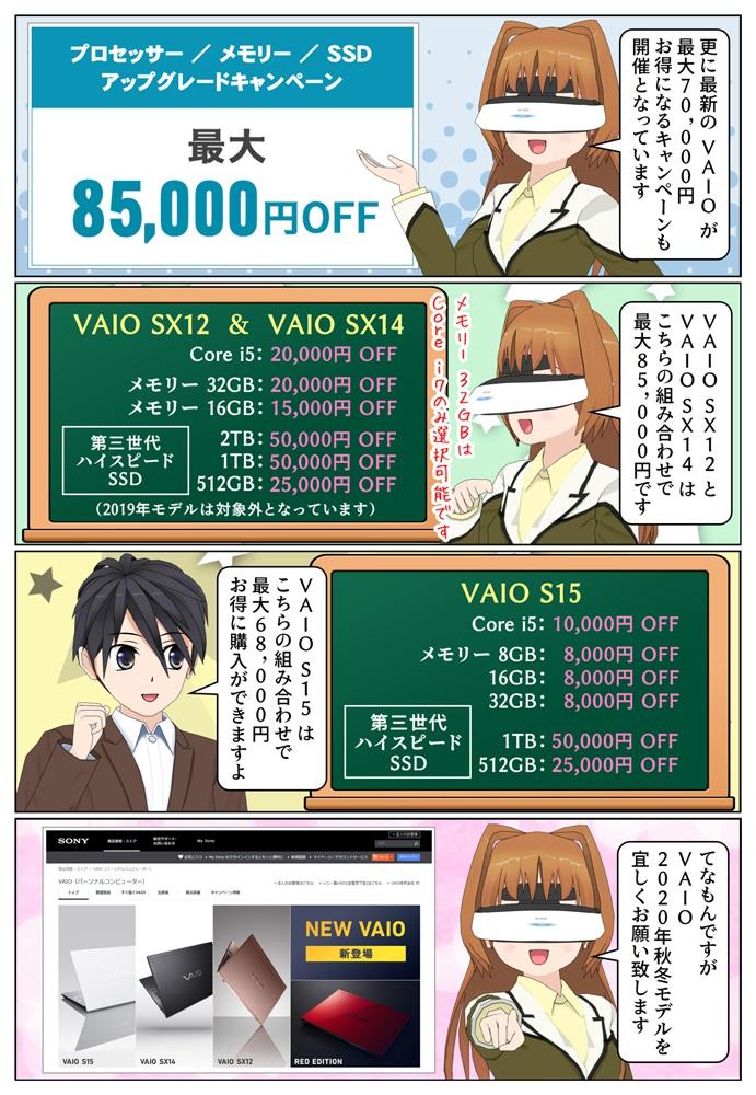 最新の VAIO のCPU、メモリー、SSDが通常より安く選択できるキャンペーンが開催