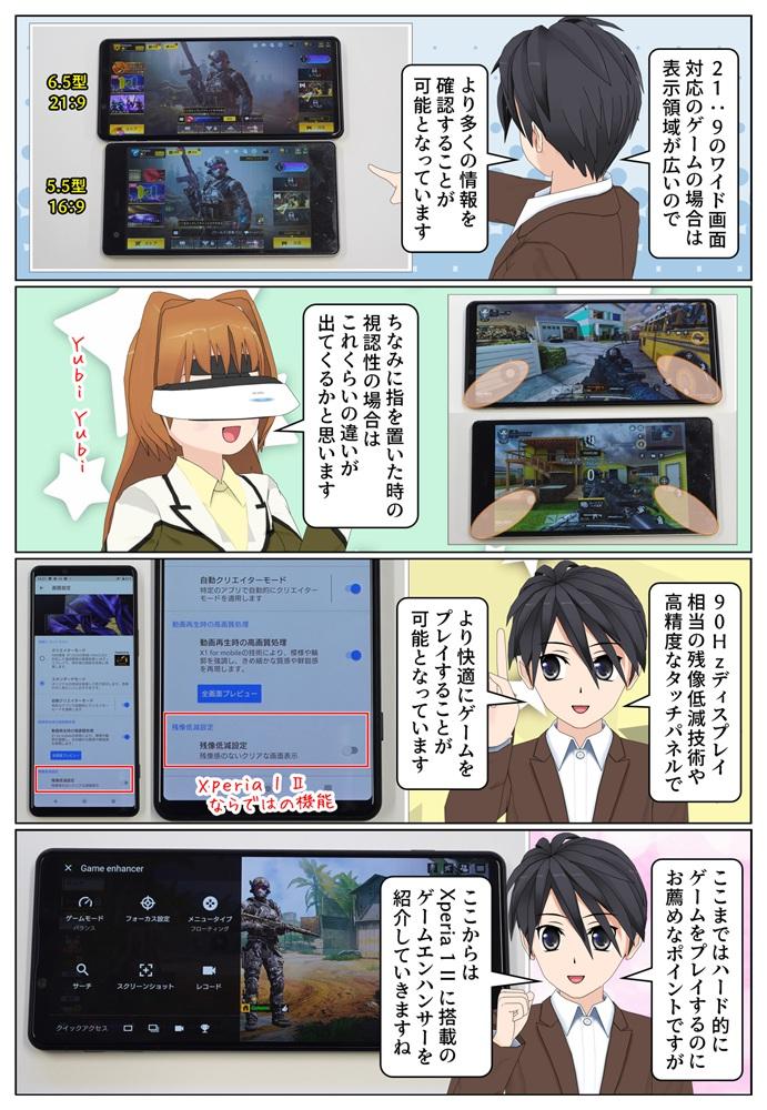 Xperia 1 II SIMフリーモデルは21:9のワイド画面を採用で、対応したゲームの表示領域が広い