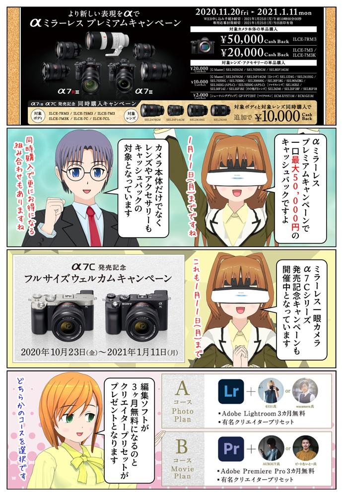 ソニー ミラーレス一眼カメラ α(アルファ)本体やレンズを購入で一口最大5万円のキャッシュバック