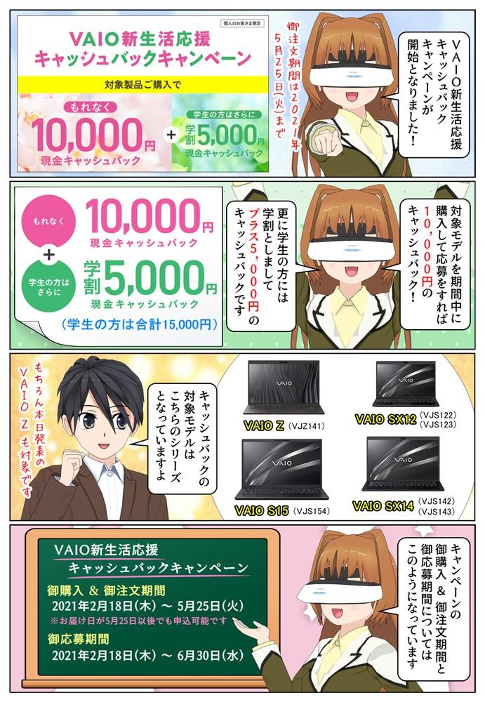 VAIO 新生活応援キャッシュバックキャンペーンが開始、最大1万5千円のキャッシュバック。