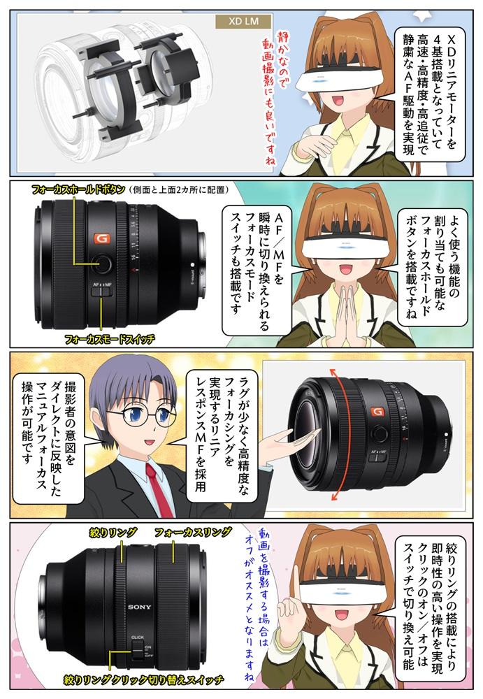 ソニー FE 50mm F1.2 GM(SEL50F12GM)は4基のXDリニアモーターを搭載、動画撮影用にもオススメです