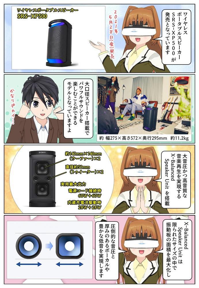 ソニー ワイヤレスポータブルスピーカー SRS-XP500 が発売。X-Balanced Speaker Unit 搭載