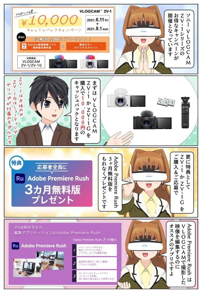 ソニー VLOGCAM ZV-1 か ZV-1G を購入で10,000円のキャッシュバックとなるキャンペーンが開催
