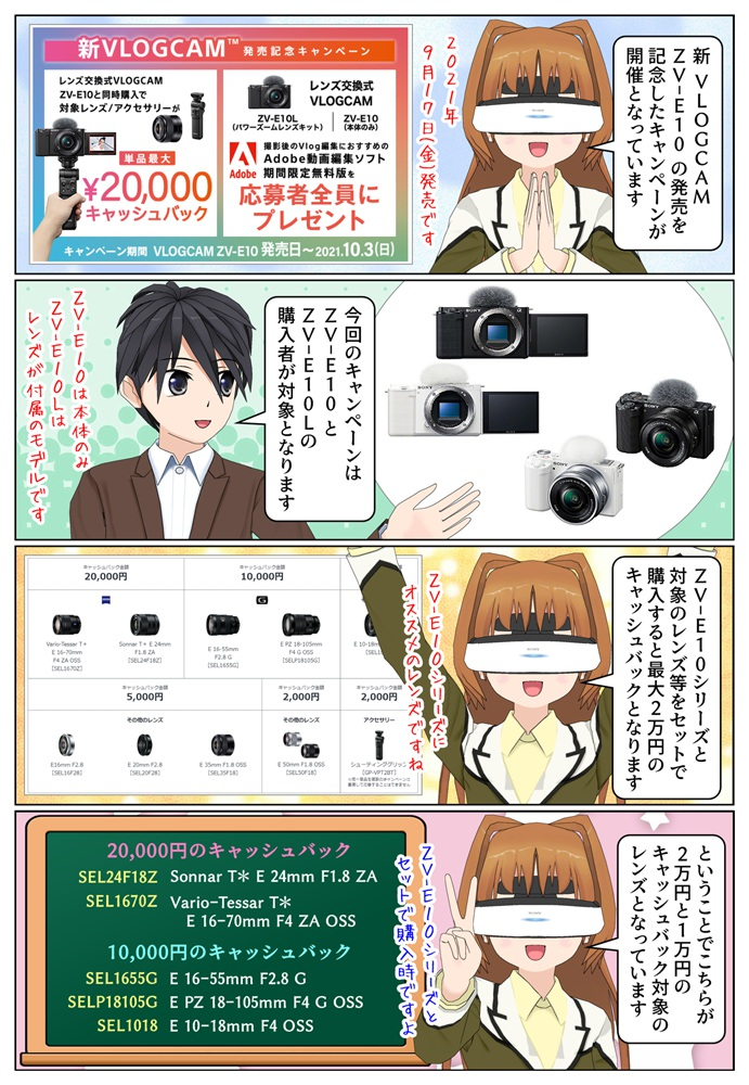 ソニー 新VLOGCAM ZV-E10 発売記念キャンペーンが開催、最大2万円のキャッシュバック